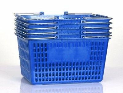 Shopping Basket Set of 5 Durable Blue Plastic with Metal Handles