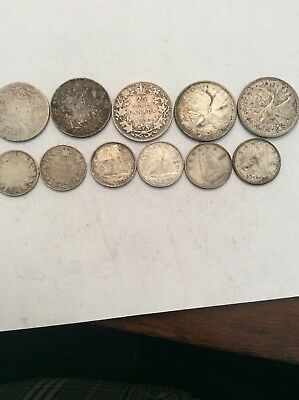 11 Early Silver Canadian Quarters And Dimes