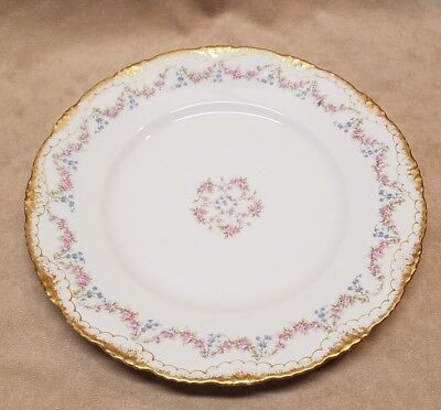 Antique Haviland Limoges Pink Rose Garland Glod Trim Dinner Plate Mint Condition