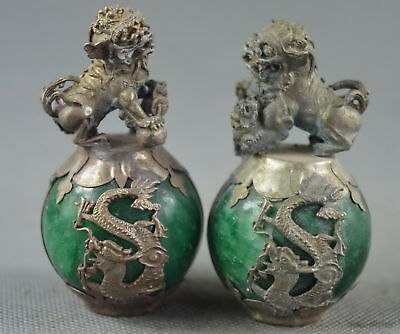China Collectable Old Agate Armor Miao Silver Carve Lion Dragon Exorcism Statue