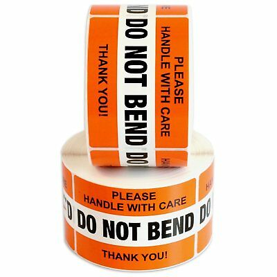 "DO NOT BEND Label Stickers 2"" x 3"" 1000 Labels [2 Rolls x 500] Waterproof Orange"