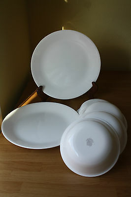 6 pcs CORELLE WHITE FROST 4 BOWLS 2 DINNER PLATES VITRELLE CHIP BREAK RESISTANT
