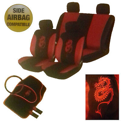 15 Piece Red & Black Dragon Car Seat Steering Headrest & Mats Covers Cover Set