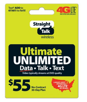 Straight Talk Refill Card Unlimited Talk,Text, Data  30 Day for ST phone