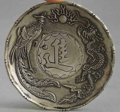 Collectable Handwork Old Miao Silver Carve Dragon & Phoenix Exorcism Evil Plates