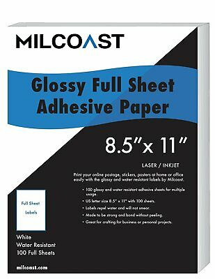 "Milcoast Glossy Full Sheet 8.5/"" x 11/"" Clear Translucent Waterproof Adhesive"
