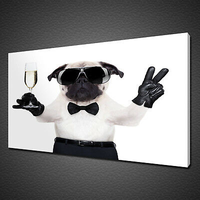 CHAMPAGNE PARTY DOG CANVAS PICTURE PRINT WALL ART HOME DECOR