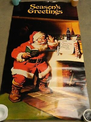 """Seasons Greetings"" Santa Claus Coca Cola Poster Advertising Christmas Print"