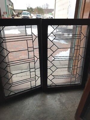 Sg 2157 2Av Price Separate Antique Leaded Transom Window 23 X 34.5