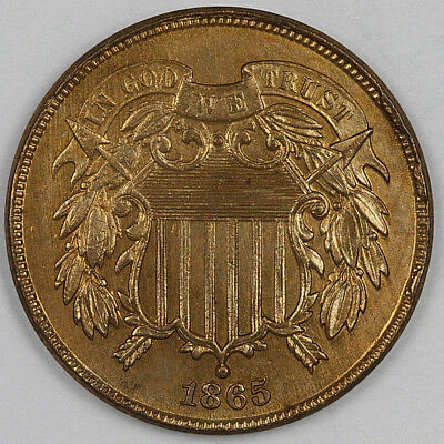1865 2 Cent Piece Fancy 5 Cleaned High Grade