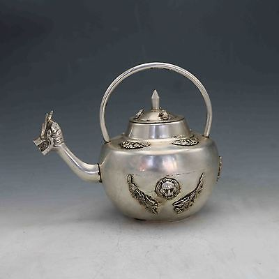 Chinese Silver Copper Hand Carved Dragon mouthTeapot&Frog cover X0265