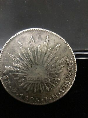 Mexico 1825 8 Reales MO JM Silver Mexican Coin Very Scarce Date