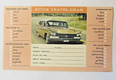 1959 BUICK STATION WAGON TRAVEL-GRAM car dealer promotional advetising postcard