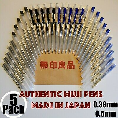 6x SIX Muji Pens Made in Japan Gel-Ink gel Black BLUE PEN 0.38mm 0.5mm