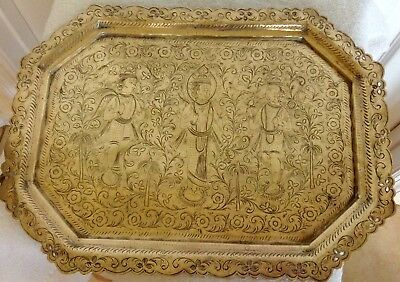 - Antique Vintage India HINDU Solid Brass Hand Engraved TRAY PLATTER ornate 16""