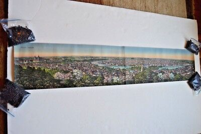 Vintage birds eye view hand-tinted panoramic photo of Prague, Czech Republic