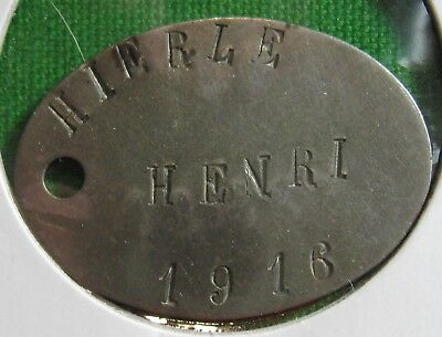 French Dogtag WW I dated 1916 from Nimes
