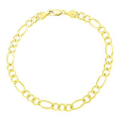 "10K Real Yellow Gold 5.5mm Figaro Link Chain Bracelet Lobster Clasp 7"" 8"" 9"""