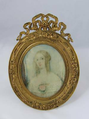 Antique French Gilt Bronze Dore Roses & Ribbons Frame W/ Hand Painted Portrait