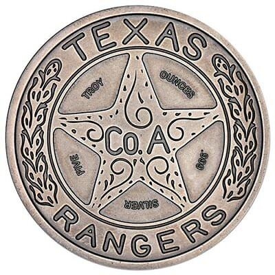 Texas Rangers Lone Star Badge 5 oz .999 Silver Antiqued Finish USA Made Round