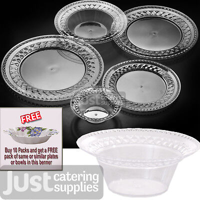 Luxury Round Clear Plastic Plates - Buy A Full Case Get A FREE Pack Paper Plates