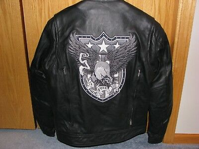 New River Road Men's Leather Ride Free Eagle Motorcycle Riding Jacket Size 42