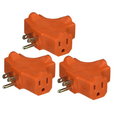 3 WAY OUTLET Wall Triple Tap Adapter Grounded Electrical Splitter 1 ...
