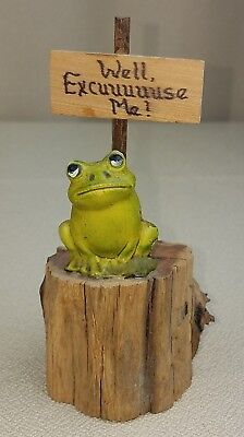 "Vintage Frog on Tree Stump ""Well Excuse Me"" Folk Art Craft Attitude"