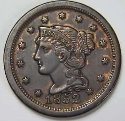1852 Liberty Braided Hair Large Cent Penny Old US Coin NR Free Ship P1R B040
