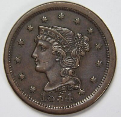 1854 Liberty Braided Hair Large Cent Penny Old US Coin NR Free Ship P1R B042