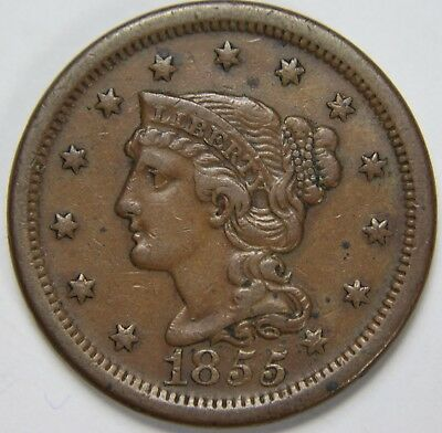 1855 Liberty Braided Hair Large Cent Slanting 5's Penny Old US Coin NR P1R B043