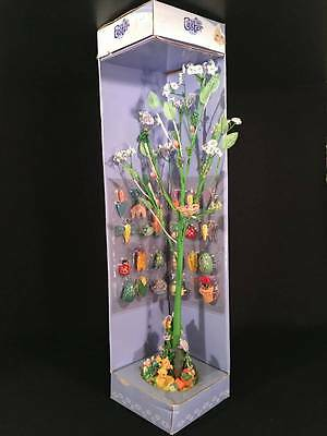 """18"""" Spring Easter Tree Display 24 Miniature Wood Garden Ornaments Table Decor"""