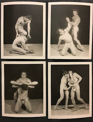 Vintage Gay Lot 4 UNSTAMPED original 4x5 Photo Sequence BEEFCAKE DUO Wrestling