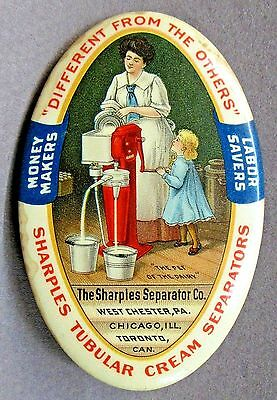 early SHARPLES CREAM SEPARATOR Woman Standing Version dairy pocket mirror *