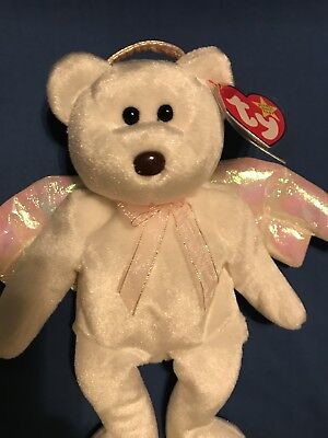TY Beanie Babies HALO white bear w/ pink glitter halo, wings & bow! Beautiful 💗