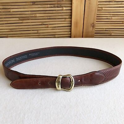 Vintage 'OROTON' Rich TAN Cowhide WOVEN Pattern LEATHER BELT Brass BUCKLE Size M