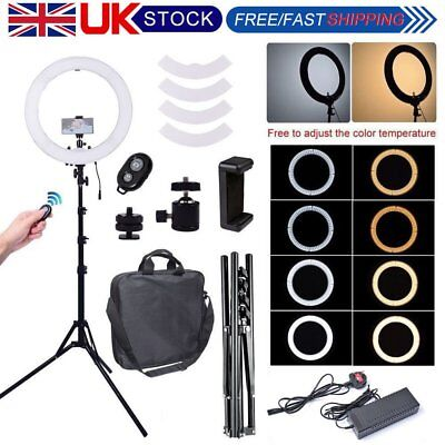 """19"""" 3200K-5500K Bi-color LED Dimmable Ring Light with Stand & Remote Clamp Photo"""