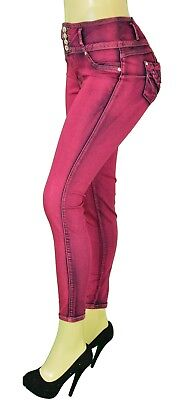 High Waist  Stretch PushUp Colombian  Levanta Cola Skinny Jeans IN RED LA726