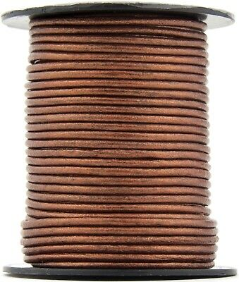 Xsotica® Copper Metallic Round Leather Cord 2mm 100 meters (109 yards)