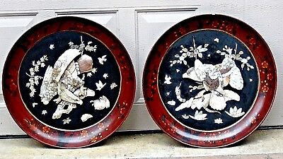 PAIR ANTIQUE 18c RARE JAPANESE PLAQUES ,CARVED BOVINE BONE&MOP W/EAGLES APLIQUE