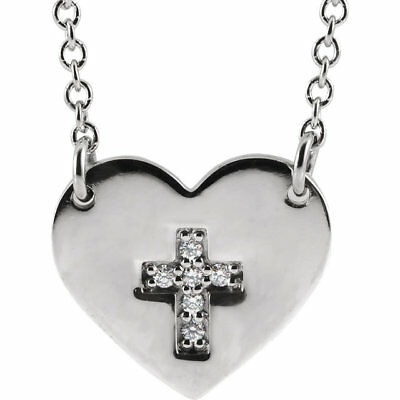 """Heart With Accented Diamond Cross 16-18"""" Necklace In Sterling Silver"""