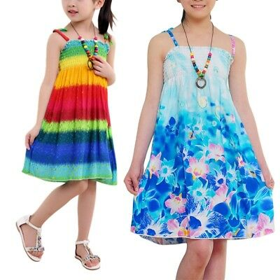 Baby Kids Girls Summer Casual Sleeveless Dress Party Beach Floral Sundress 2-10Y