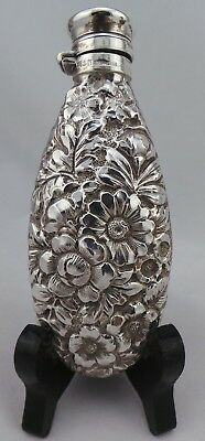 Stunning Rare Antique American Gotham Repousse Sterling Silver Perfume Flask.