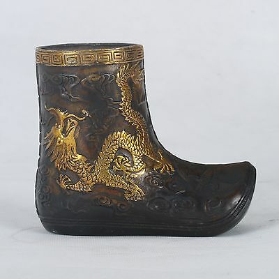 Chinese Copper Handwork Carved Dragon Gilt Boot Statue W Xuande Mark HT008