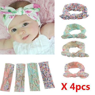 4 X Newborn Baby Headband Ribbon Elastic Headdress Kids Hair Band Tie Knot
