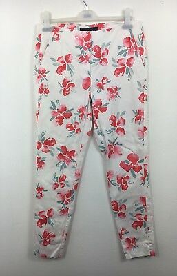 Zara White Pink Red Floral Trousers Size S - B25
