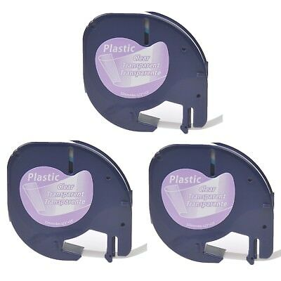 3PK Plastic Tape Label for DYMO Letra Tag QX50 LT100H LT16952 Black on Clear