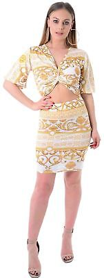 Women's Twist Knot Wais Cut Play Chain Print Camo Sleeve Warp Bodycon Midi Dress