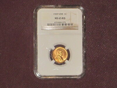 """1909 VDB """"Red""""  1c Wheat Penny - NGC MS 65 RD  """"RED"""" HTF in this Grade"""