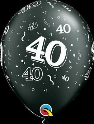 Qualatex 40th Birthday Helium Balloons Age 40 Black Silver Party Decorations
